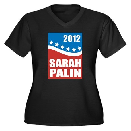 Palin Red White Blue Women's Plus Size V-Neck Dark