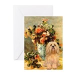 Vase / Lhasa Apso #9 Greeting Cards (Pk of 10)