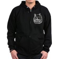 Long-Haired Gray Cat Zip Hoodie