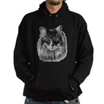 Long-Haired Gray Cat Hoodie (dark)