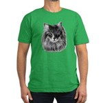 Long-Haired Gray Cat Men's Fitted T-Shirt (dark)