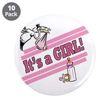 "It's a Girl! 3.5"" Button (10 pack)"