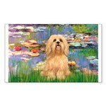 Lilies / Lhasa Apso #9 Sticker (Rectangle)