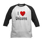 I Love Unicorns Kids Baseball Jersey