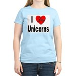 I Love Unicorns (Front) Women's Pink T-Shirt