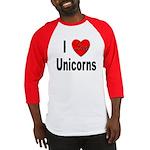 I Love Unicorns (Front) Baseball Jersey
