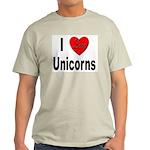 I Love Unicorns (Front) Ash Grey T-Shirt