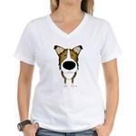 Big Nose/Butt Smooth Collie Women's V-Neck T-Shirt