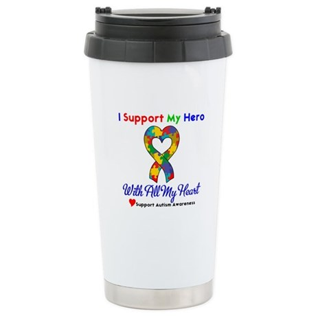 Autism ISupportMy Hero Ceramic Travel Mug