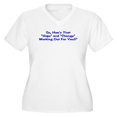 Hope and Change Women's Plus Size V-Neck T-Shirt