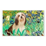 Irises / Lhasa Apso #4 Sticker (Rectangle)