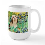 Irises / Lhasa Apso #4 Large Mug