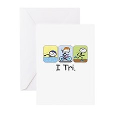 Triathlon Stick Figure Greeting Cards (Pk of 20)