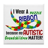 I Wear Puzzle Ribbon Grandchildren 33 Tile Coaster