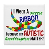 I Wear Puzzle Ribbon Granddaughters 33 Tile Coaste