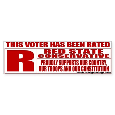 Rated R Red State Conservative Bumper Sticker