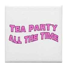 Tea Party Time Tile Coaster