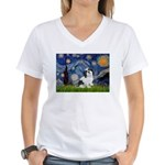 Starry / Lhasa Apso #2 Women's V-Neck T-Shirt