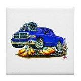 Dodge Ram Dual Cab Blue Truck Tile Coaster