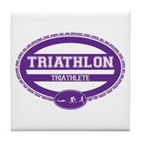 Triathlon Oval - Women's Triathlete Tile Coaster