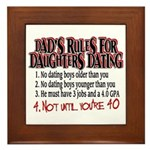 Dads Rules for Daughters Dating Framed Tile