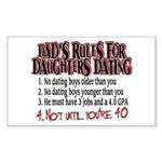 Dads Rules for Daughters Dating Sticker (Rectangle