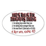 Dads Rules for Daughters Dating Oval Sticker