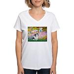 Garden / Lhasa Apso #2 Women's V-Neck T-Shirt
