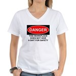 Danger Sign Women's V-Neck T-Shirt