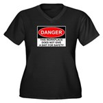 Danger Sign Women's Plus Size V-Neck Dark T-Shirt
