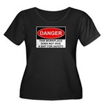 Danger Sign Women's Plus Size Scoop Neck Dark T-Sh