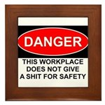 Danger Sign Framed Tile