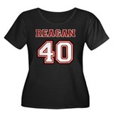 Reagan #40 Women's Plus Size Scoop Neck Dark T-Shi