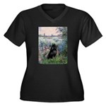 Seine / Schipperke Women's Plus Size V-Neck Dark T