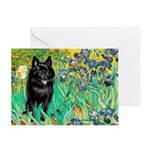 Irises / Schipperke #2 Greeting Card