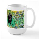 Irises / Schipperke #2 Large Mug