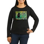 Irises / Schipperke #2 Women's Long Sleeve Dark T-