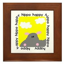 Hippo Happy Framed Tile