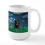 Lilies / Schipperke #4 Large Mug