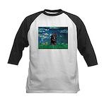 Lilies / Schipperke #4 Kids Baseball Jersey