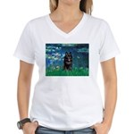 Lilies / Schipperke #4 Women's V-Neck T-Shirt