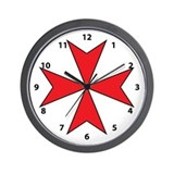 Red Maltese Cross Wall Clock