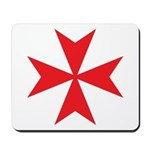 Red Maltese Cross Mousepad