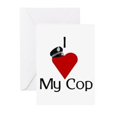 I Love (heart) My Cop (policeman hat) Greeting Car