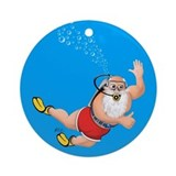 Scuba Diving Santa Christmas Holiday Ornament