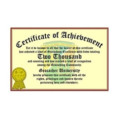 Certificate of Achievement - 1000 Finds!