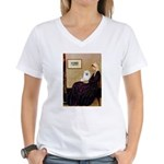 Whistlers / Eskimo Spitz #1 Women's V-Neck T-Shirt
