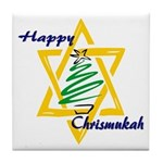 Happy Chrismukah Tile Coaster