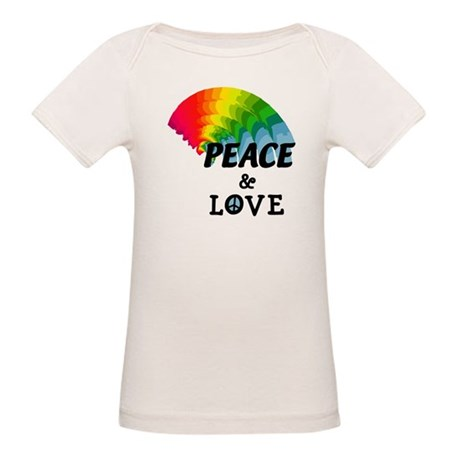Rainbow Peace and Love Organic Baby T-Shirt