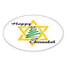 Happy Chrismukah Oval Decal